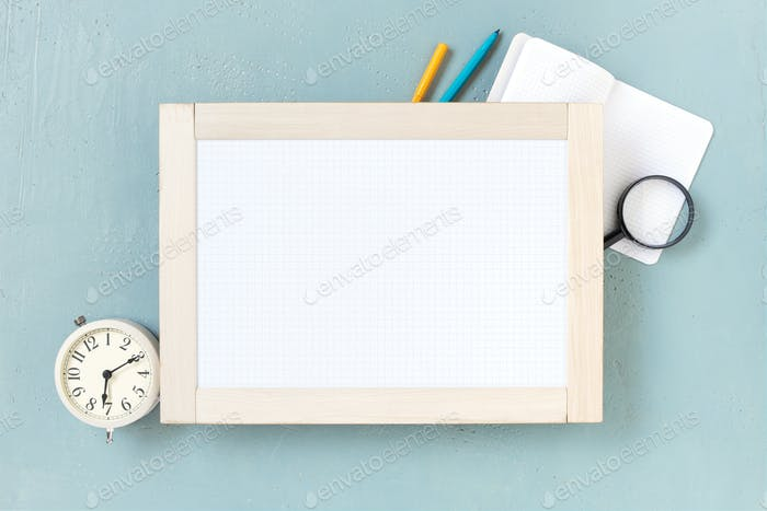 Blank Marker Board and Alarm Clock