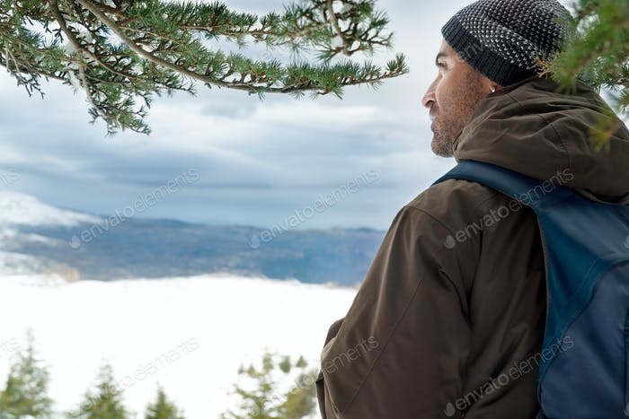 Traveler in the snowy mountains