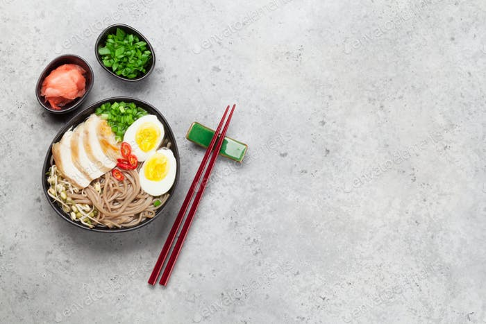 Asian noodle ramen soup