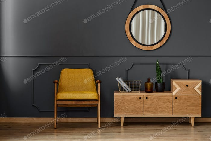 Simple black room interior