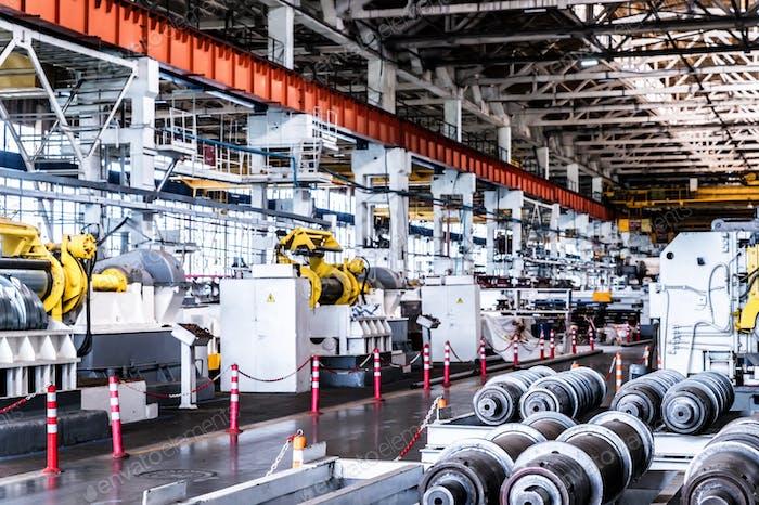 Interior of workshop in modern industrial plant