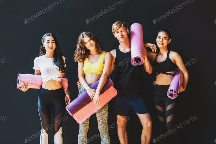 Group of diversity sporty people standing together, wearing sportswear bra and pants fashion