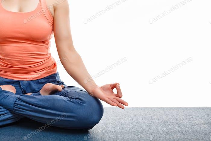 Close up yoga asana Padmasana Lotus pose