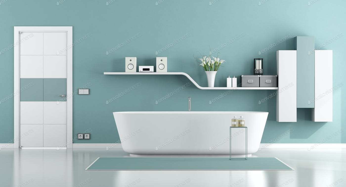 Blue moder bathroom photo by archideaphoto on Envato Elements