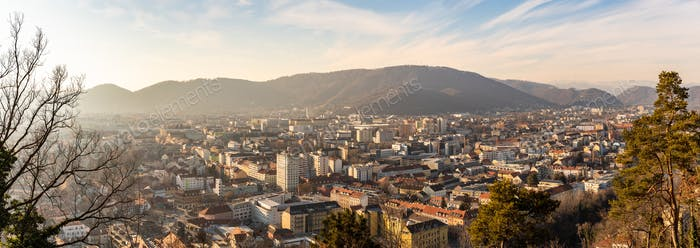 Wide panorama of Graz City from castle hill Schlossberg, Travel destination.