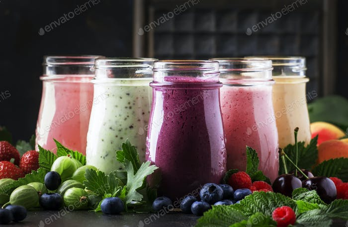 Berry fruit cocktails, smoothies and milkshakes, fresh fruit and berries