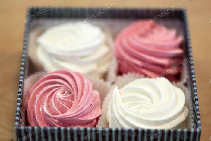 zephyr or marshmallow dessert in gift box