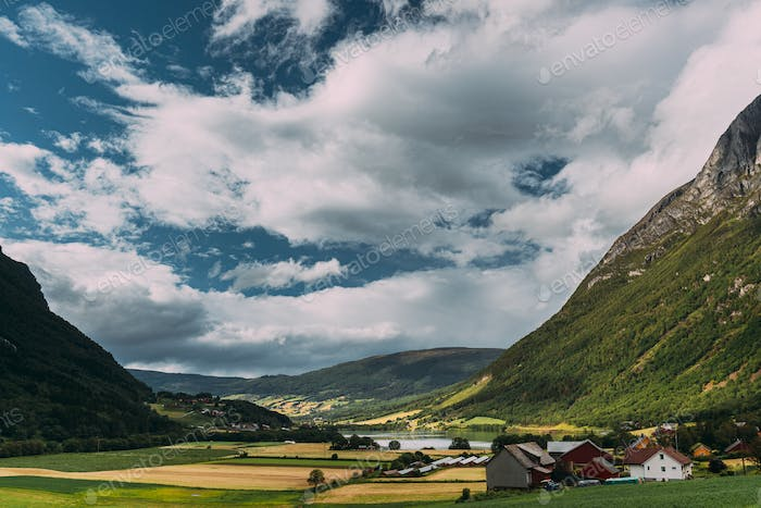 Byrkjelo Village, Sogn Og Fjordane County, Norway. Beautiful Sky Above Norwegian Rural Landscape