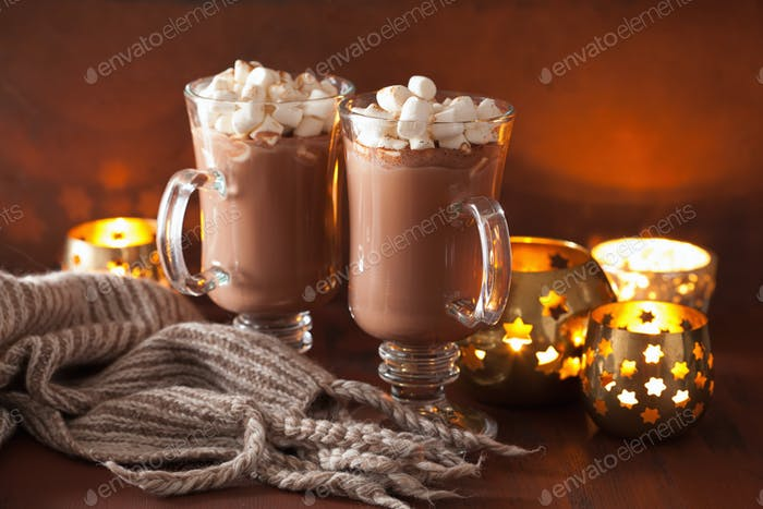 hot chocolate with mini marshmallows cinnamon winter drink candl