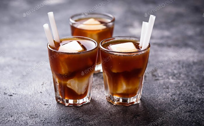 Iced coffee with frozen milk