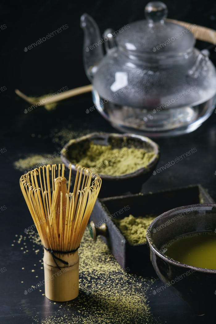 Green tea matcha powder and drink