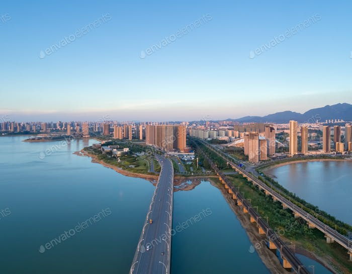jiujiang city landscape in sunset