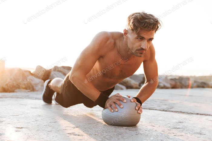 Portrait of a focused shirtless sportsman