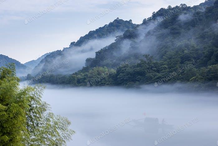 Hunan little Dongjiang River in mist