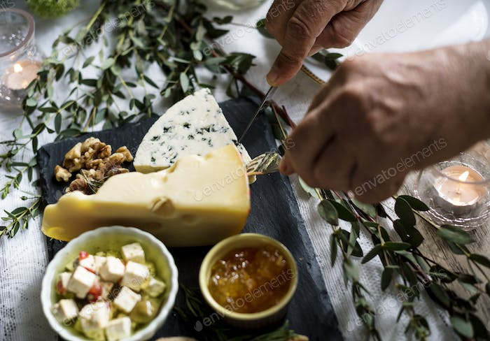 People Hands With Cutlery Getting Cutting Cheese