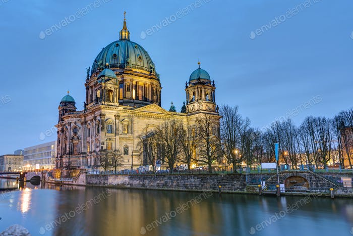 The Cathedral of Berlin with the river Spree