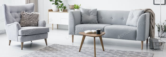 Real photo of grey armchair with fur cushion and sofa standing i