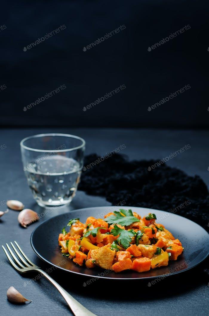 Sweet potato chicken skillet