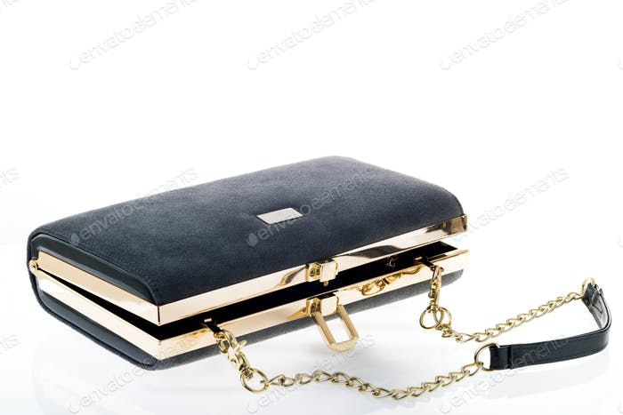 Women's clutch handbag on a white background
