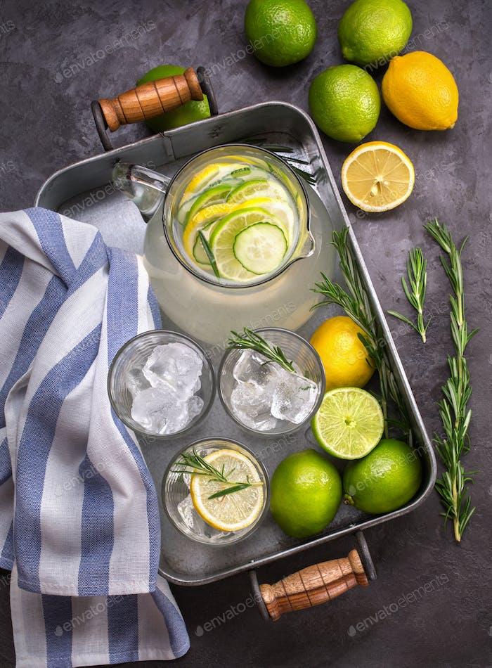 Homemade lemonade, summer drink.