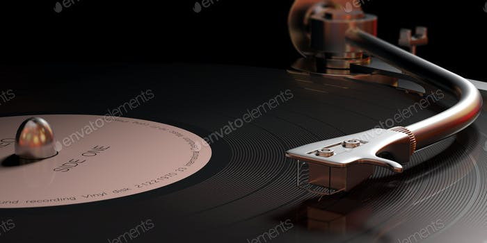 Vintage-Vinyl-LP-Plattenspieler, Nahansicht mit Details. 3D Illustration