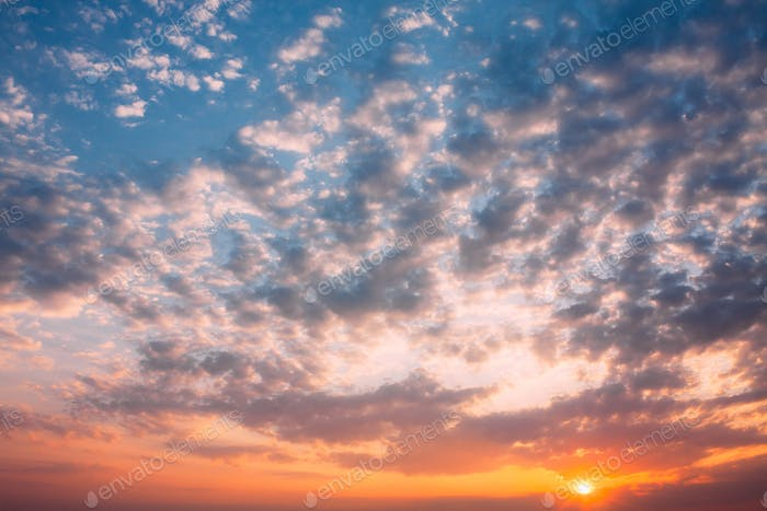 Sunset Sunrise Sky Background. Natural Bright Dramatic Sky In Su