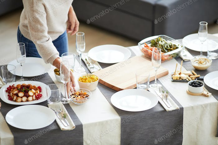 Dining table with dishes
