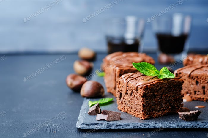chestnut brownies with chocolate icing