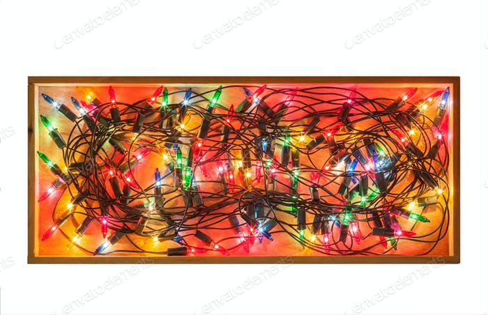 Christmas lights on wood box