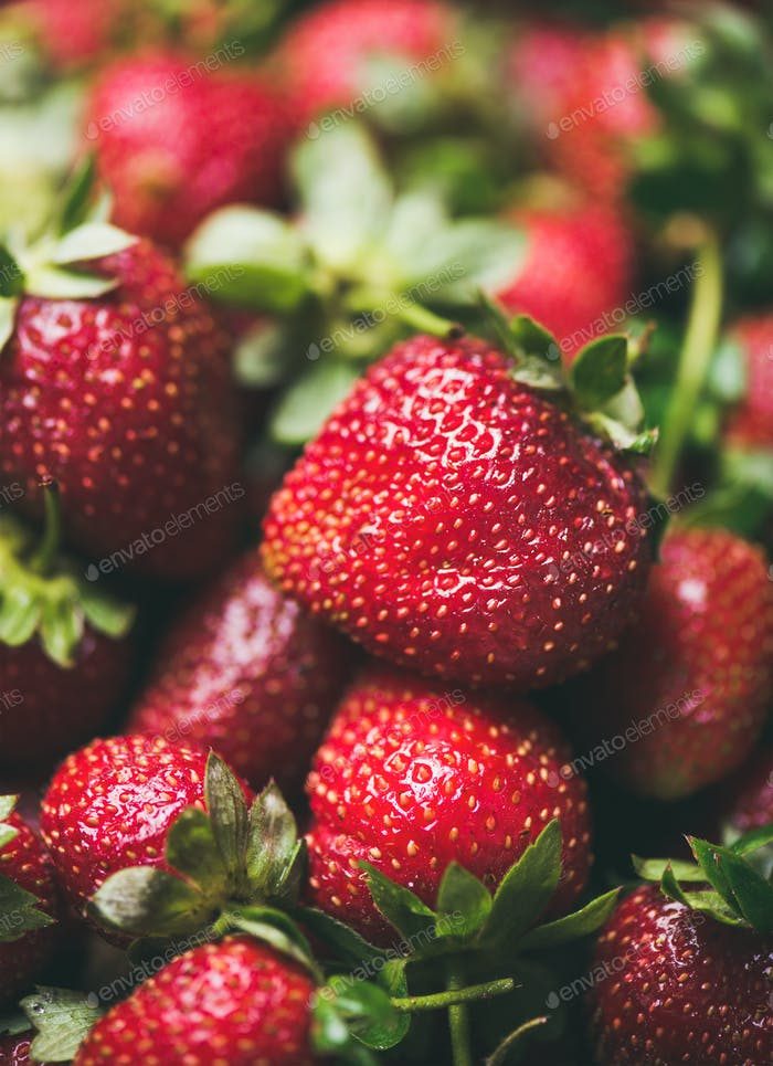 Fresh strawberry texture, wallpaper and background, selective focus