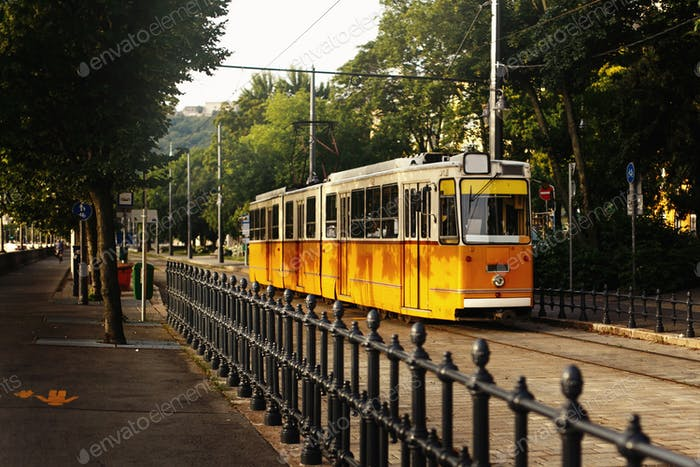 beautiful yellow old tram at green park, public transport, Budapest city street