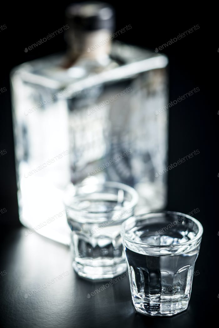 Vodka in shot glass.