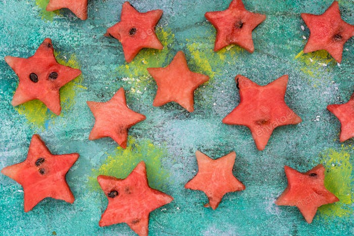 Stars cut off from watermelon