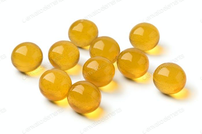 Yellow honey pearls close up
