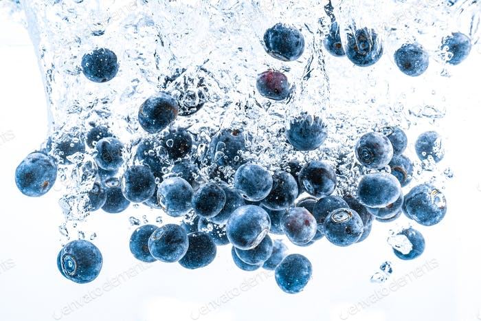 Fresh blueberries falling in water on white background. Fruits splashing into clear water.