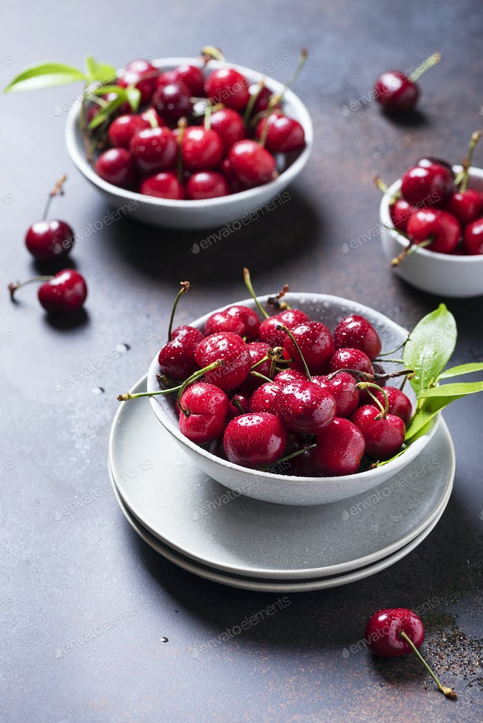 Close up image of sweet cherry