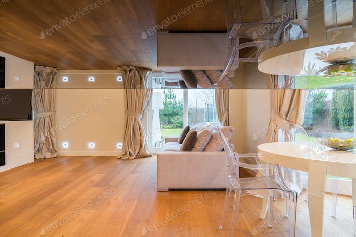Room with glass ceiling