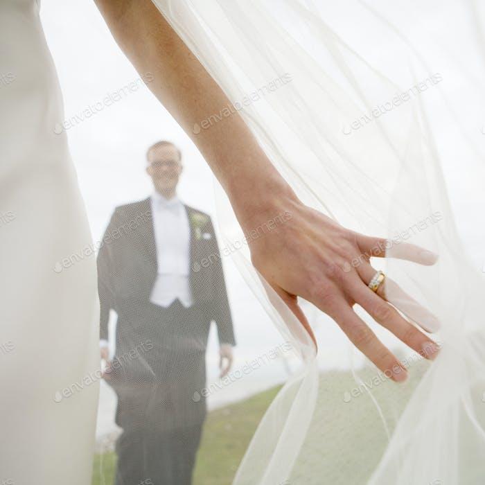 Happy groom seen through bride's veil
