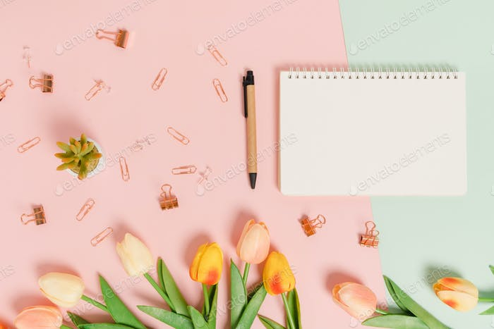 Top view beach accessories open mockup black notebook for text on pastel background.