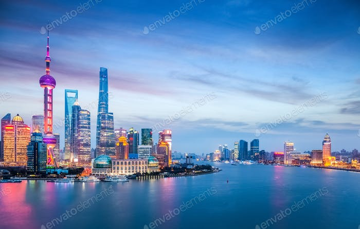 beautiful shanghai in nightfall