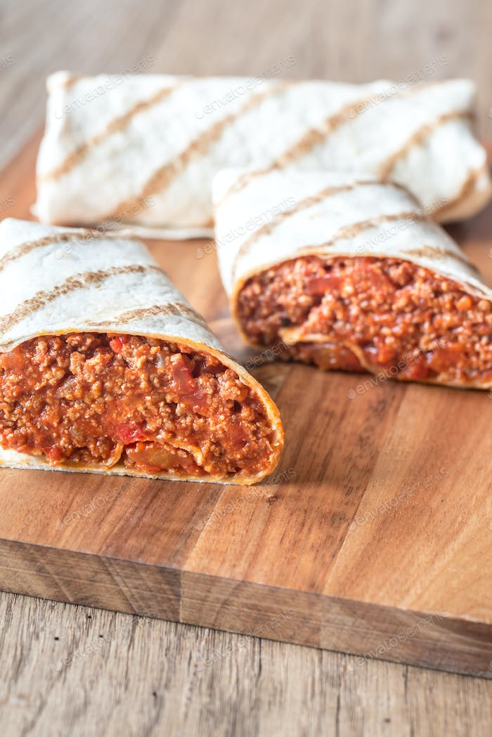 Burritos stuffed with ground beef