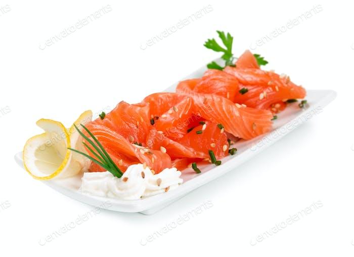 Sliced ??salmon