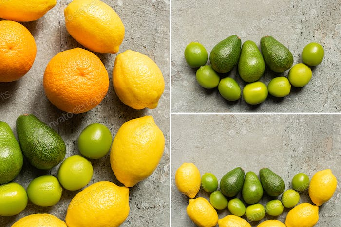 Top View of Colorful Oranges, Avocado, Limes And Lemons on Grey Concrete Surface, Collage