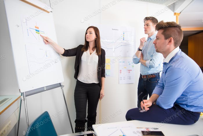 Confident Female Professional Explaining Chart To Colleagues