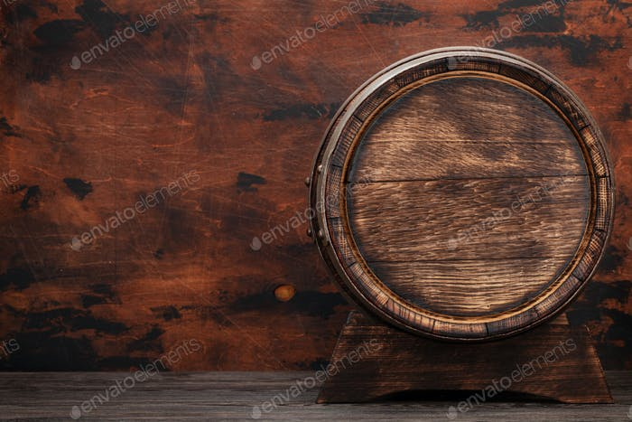Old wooden barrel for wine or whiskey aging