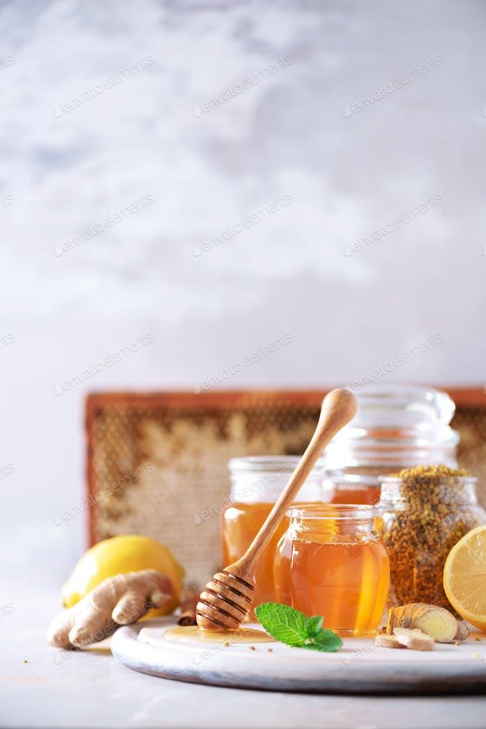 Zutaten für gesundes heißes Getränk. Zitrone, Ingwer, Minze, Honig, Apfel und Gewürze auf grauem Hintergrund