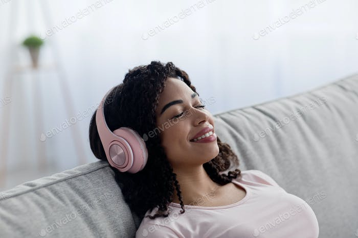 Listen favorite music and relax at home alone, satisfied free time and good quality audio