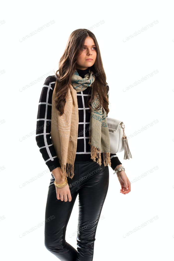 Lady wears beige scarf