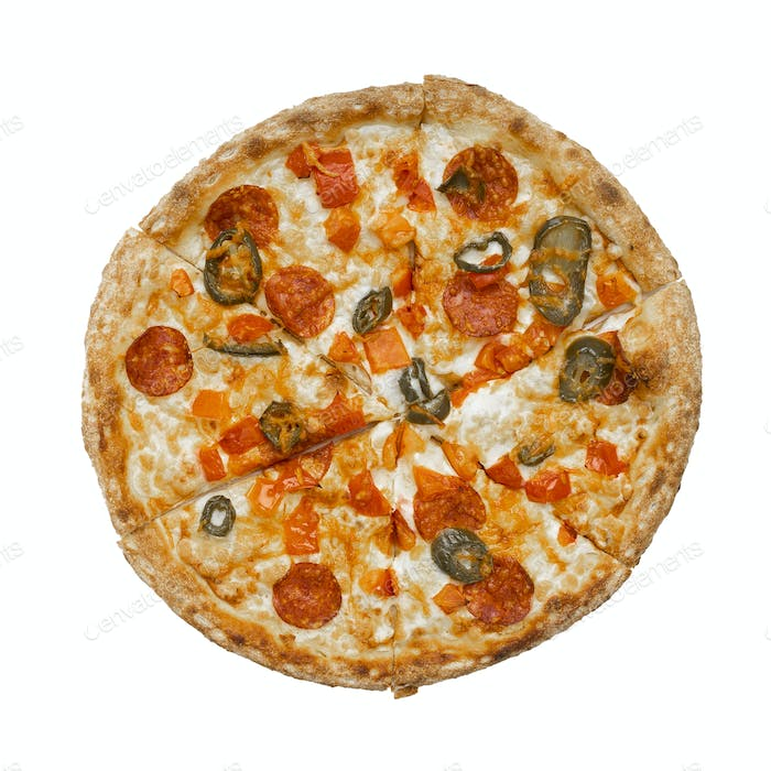 Delicious Pizza Isolated over white background
