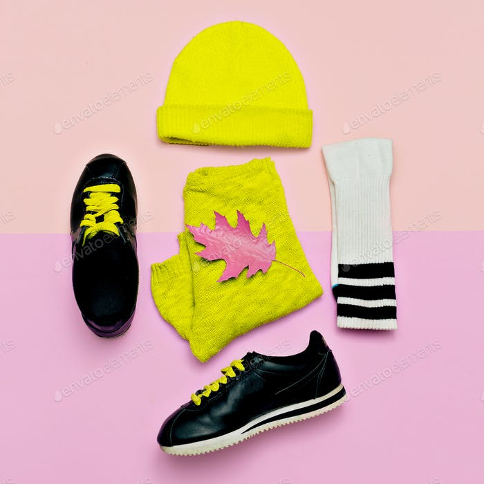 Fashion blogger help. A set of beanie and sneakers. Fashionable